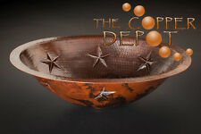 COPPER OVAL UNDER-MOUNT HAMMERED BATHROOM SINK W/ STARS
