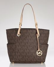 Michael Kors Jet Set Travel  Monogram Logo Tote East West (Brown)