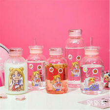 Sailor Moon Glass Cup With Straw Container Women Girls Cute Water Cup Ins Style