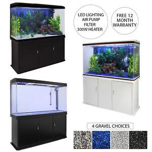 Fish Tank Aquarium Cabinet LED Lighting Tropical Marine Filter Coldwater 300L