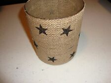 Primitive large country house burlap wrapped BLACK STAR candle jar /nice