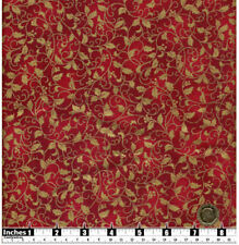 Christmas Fabric Gold Metallic Leaves & Berries Red BG FQs 100% Cotton | CR15