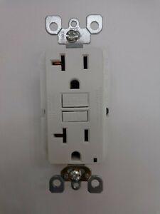 Leviton GFNT2 20 Amp 125-Volt Duplex Self-Test Slim GFCI Outlet White