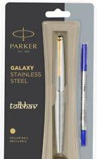 Parker Galaxy Steel GT Roller Ball Pen RB Gold Trim Standard Rollerball Blue Ink