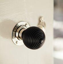 Solid Ebony Beehive Door Knobs (Pair) - Nickel Collar & Rose