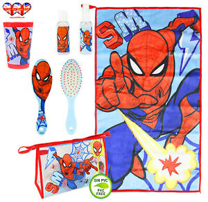 Official Marvel Spiderman Filled Travel Toiletry Bag;Hair Brush-Hand Towel-Cup..
