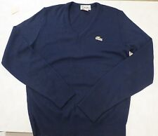 Izod Lacoste Navy Blue 100% Cashmere Wool V Neck Sweater Men 1980s gator rare