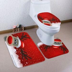 2020 NEW Christmas Deer Pattern 3 Pcs Toilet Mat Bath Mat