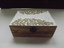 Shabby Chic Rustic Decorative Hand Carved Wooden Box