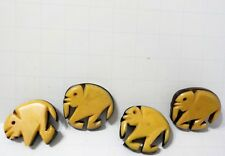 Antique carved Bakelite Elephant Buttons lot of 4