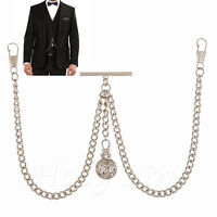 Brand New Silver Colour Double Albert Pocket Watch Chain With Hollow Pendant