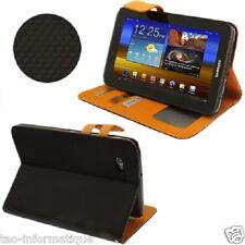 Housse orange / noir avec porte cartes et support pour Samsung GalaxyTab 2 P3100