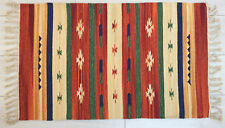 Small Cotton Rug 60x90cm 2x3' Red Green Beige Indian Handmade
