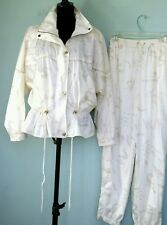 Vintage 80's Andy Johns Womens Ivory & Gold Track Suit Windbreaker Pants M