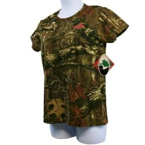 Mossy Oak Womens Hunting T Shirt Green Camouflage Short Sleeve Crew Tee L New
