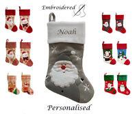 Personalised Christmas Stocking Kids Luxury Embroidered Xmas Sack Santa Boot