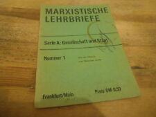 Sach Polit Marxistische Lehrbriefe : Serie A / No.1 (20s.) MARX BLÄTTER VLG