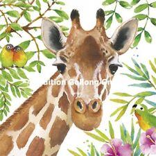 Edition Gollong Carola Pabst Giraffe Papageien Blumen Postkarte Karte Gr14x14