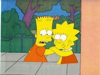 Simpsons Bart & Lisa Season 1 Very Rare Production Cel & Photocopied Background