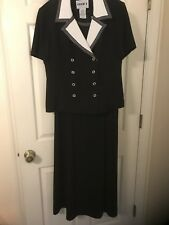 Studio One Black Dress & Jacket With White Collar, Size 14, Double Breasted