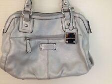Tignanello Purse Leather Silver Pebbled Satchel Shoulder Bag Silvertone Hardware