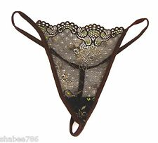 New Lace Thong Brown Panty Sheer G-String Tanga Lingerie Sexy Underwear O/S