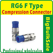 100 x RG6 F Type Compression Connector Coax FTA Pay Tv Satellite Free Postage