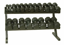 Rubber Coated Dumbbell Set Dumbell VTX Oct 5 - 50 lbs Contour Handle Shelf Rack