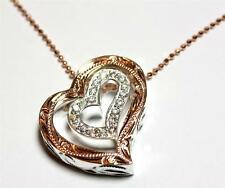 THICK PINK ROSE SILVER 925 HAWAIIAN SCROLL DOUBLE HEART CZ PENDANT
