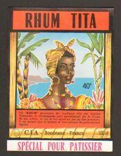 """BORDEAUX (33) ETIQUETTE de RHUM TITA """"Ets. C.I.A."""""""
