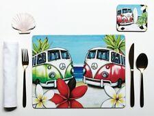 Placemat and Coaster Set, Lisa Pollock, Beach Kombi