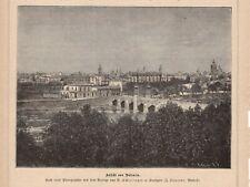 Ansicht von Valencia Spanien HOLZSTICH von 1883