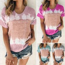 Womens Boho Summer Short Sleeve T Shirt Blouse Ladies Print Tee Tops Plus Size