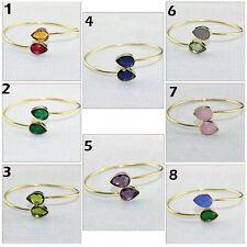 Double Stone Pear Hydro Quartz Chalcedony Gold Plated Bangle Bracelets Jewelry