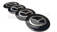 4x56mm Mazda Black  Alloy Wheel Center Caps Metal Badge Stickers