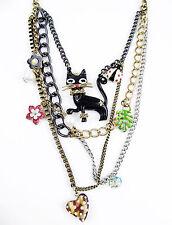 Betsey Johnson Black Morocco Cat Ladybug Heart Multi-Row Layered Necklace NEW