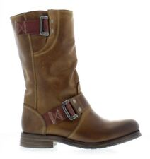 FLY LONDON SURI CAMEL LEATHER MID-CALF PULL ON BIKER BOOTS UK 4 EUR 37 RRP £145