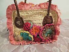 Anna Sui Embroidery needlework raffia Tote Bag Handbag Purse