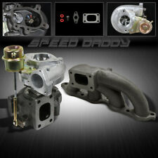 T25 TURBOCHARGER+CAST IRON TURBO MANIFOLD EXHAUST FOR 85-89 TOYOTA MR2 AE86 4AGE