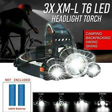 UK - 4 Modes Head Torch Headlamp Light Lamp 12000LM 3x XML T6 LED Zoom Headlight