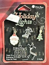 5 Metal Christmas Charms Reindeer Santa Tree Stocking Santa's Little Helper New