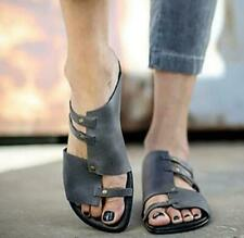 Women Dark Gray Sandals Flats Casual Shoes Vintage Slip on Solid Retro Fashion