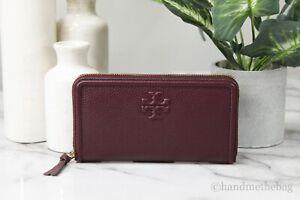 Tory Burch 67306 Thea Pebble Leather Garnet Multi-Gusset Zip Continental Wallet