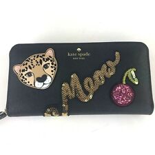 KATE SPADE Run Wild Leopard Neda Sequin Cherry Lips Meow Zip Around Wallet New
