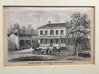 Antique LITHOGRAPH BUCK HORN TAVERN NYC 1800's Framed Litho B.Haywood Olde Days