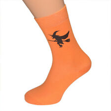 Halloween Witch on Broomstick Orange Mens SOCKS Christmas Birthday Present Gift