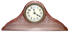 McKee Daisy & Button PInk Tambour Art Glass Mantel Clock