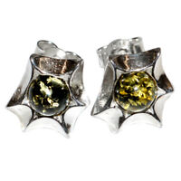 2.5g Star Authentic Baltic Amber 925 Sterling Silver Earrings Jewelry N-A5209B
