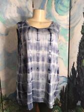 B.L.E.U. Plus 2X New Blue Tie-Dye Print Scoop Neck Rayon Sleeveless Tunic Top