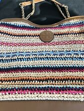 Tory Burch Marion Woven Tote Bag Multi Color Straw & Leather. Used Once! Retired